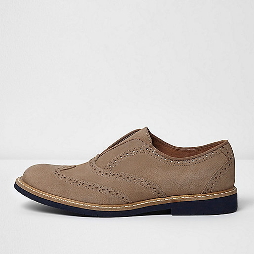 Light grey leather slip on brogues