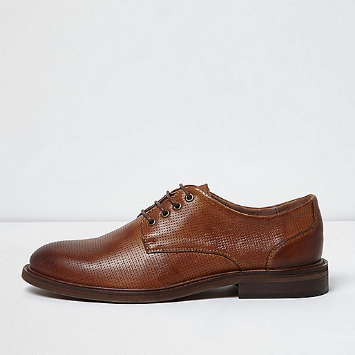 Tan textured leather lace-up shoes