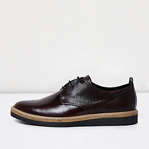Burgundy leather formal shoes