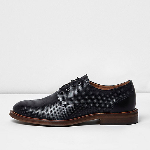Navy blue textured leather lace-up shoes