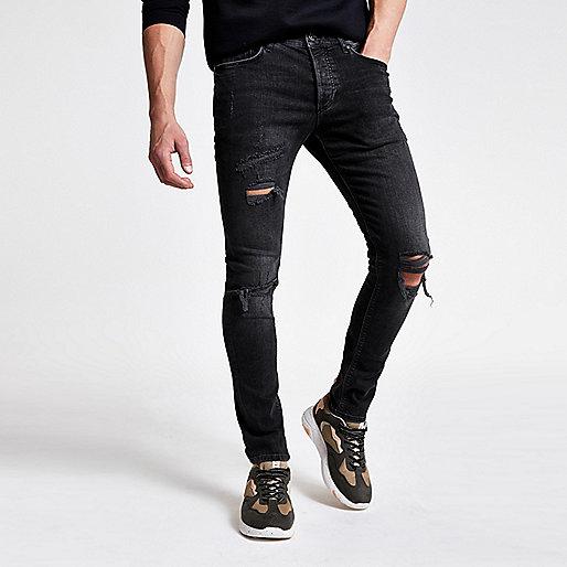 sid jean skinny noir d lav d chir jeans skinny jeans homme. Black Bedroom Furniture Sets. Home Design Ideas