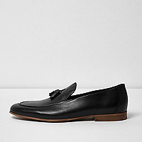 Black leather tassel formal loafers