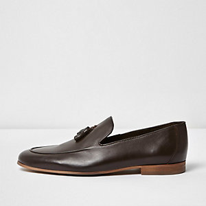 Dark brown leather tassel formal loafers
