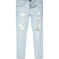 Light blue stonewash ripped Sid skinny jeans