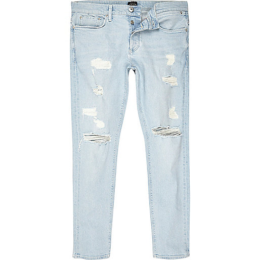Light blue stonewash ripped Sid skinny jeans