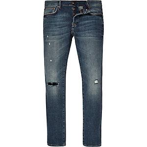 Sid - Middenblauwe wash smaltoelopende skinny jeans