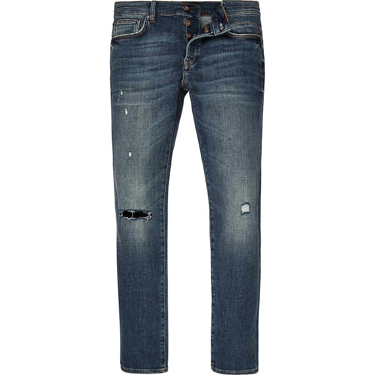 Mid blue wash Sid cigarette skinny jeans