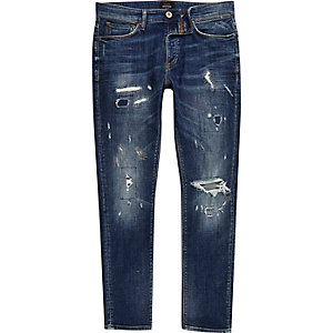 Mid blue ripped skinny Sid jeans