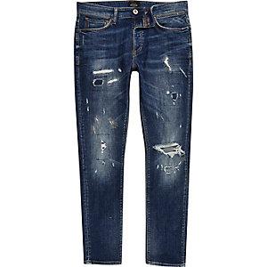 Sid – Mittelblaue Skinny Jeans im Used-Look
