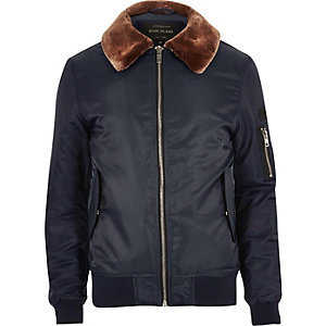 Navy blue fleece lined aviator jacket