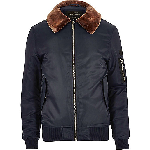 Navy blue borg lined aviator jacket
