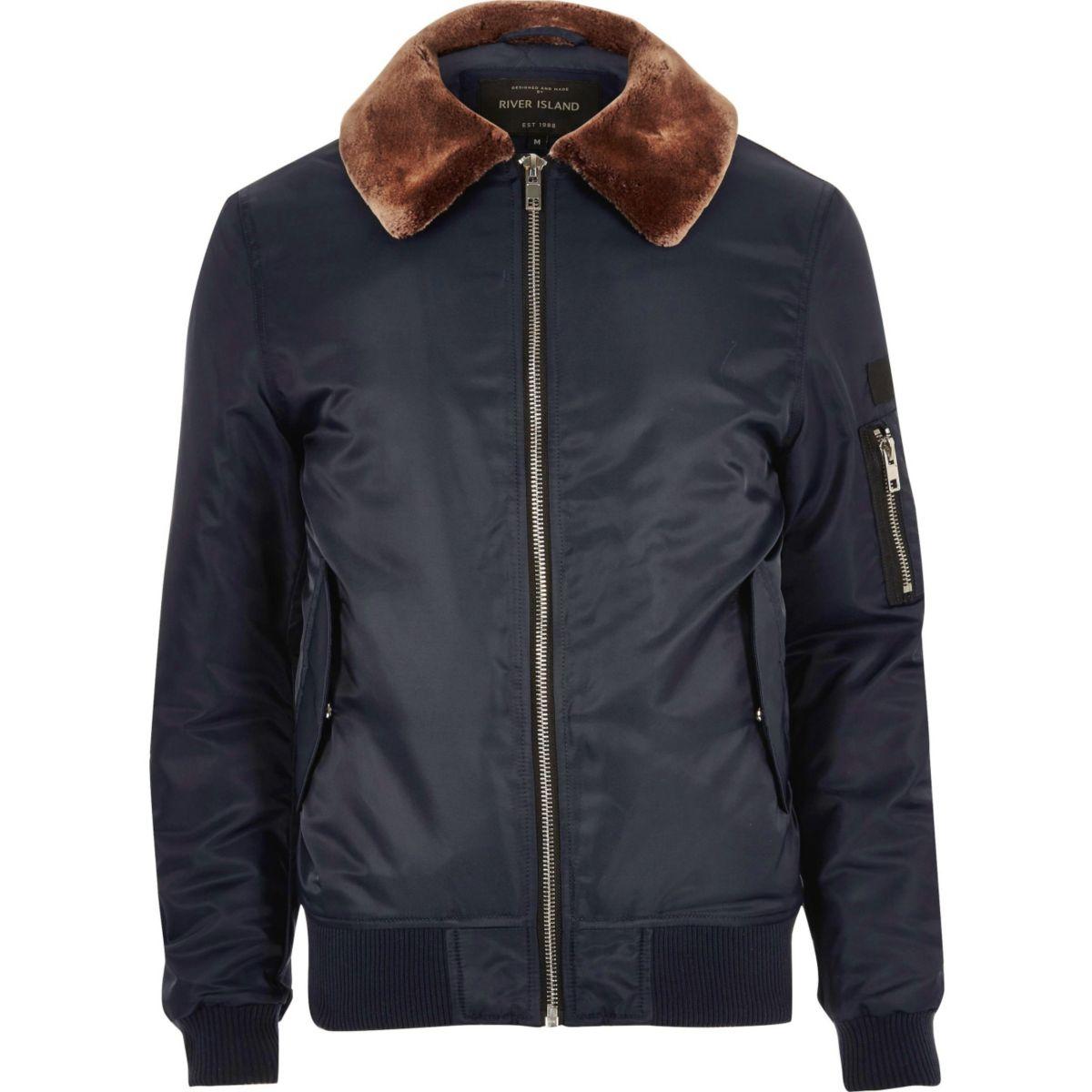 Navy blue fleece lined aviator jacket