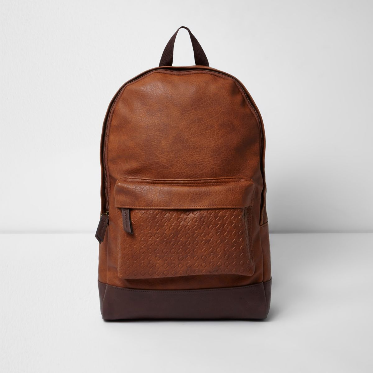 Brown lattice strap backpack