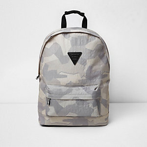 Stone camo print backpack