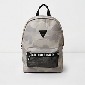 Grey camo print mesh pocket backpack