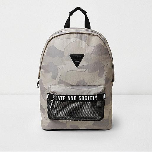 Stone camo print mesh pocket backpack