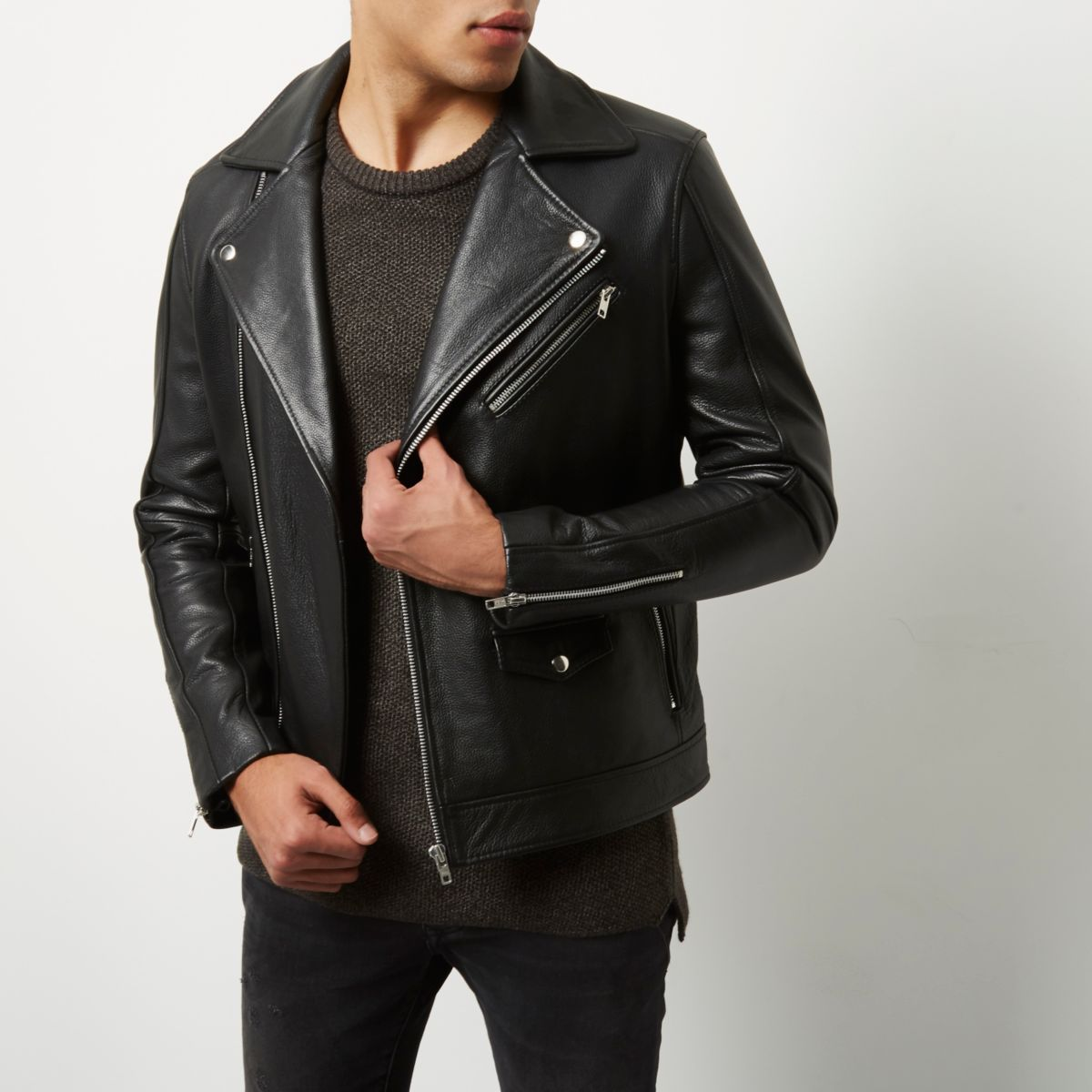 Black leather biker jacket - Jackets - Coats & Jackets - men