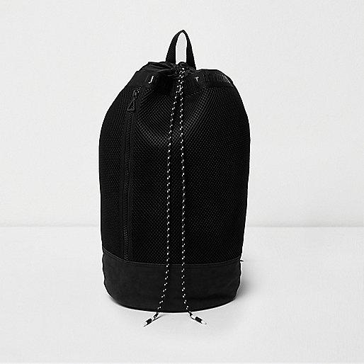 Black mesh duffle bag