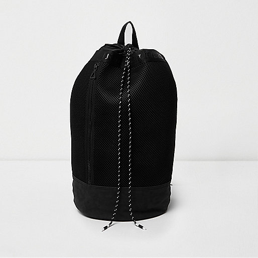 Black mesh duffle bag