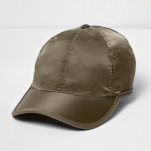Khaki green satin feel cap