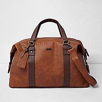 Brown lattice detail holdall