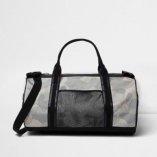 Black camouflage print holdall bag