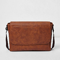 Brown foldover satchel bag