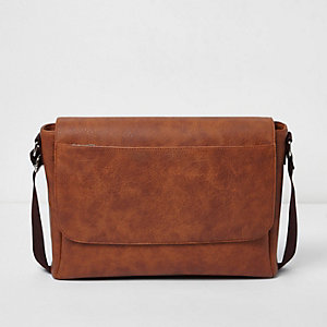 Brown foldover satchel bag