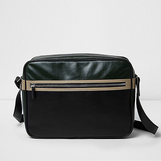 Black textured crossbody satchel bag
