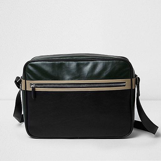 Black textured crossbody satchel bag
