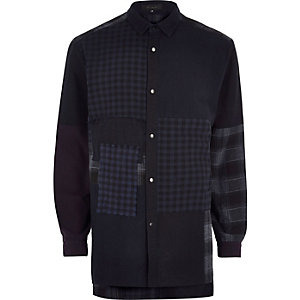 Navy Design Forum patchwork denim shirt