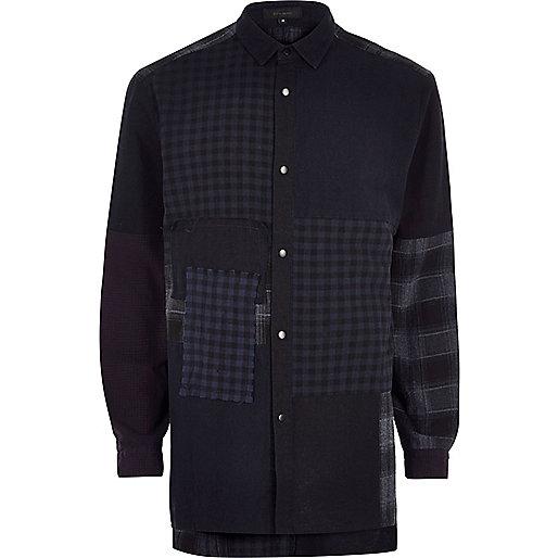 Navy Design Forum patchwork denim shirt