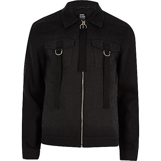 Black Design Forum linen trucker jacket