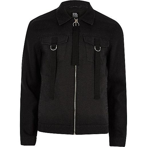 Black Design Forum linen trucker jacket