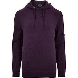 Sweat violet foncé à capuche avec zip sur la manche