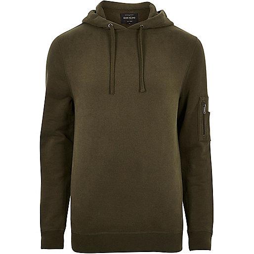 Dark green zip sleeve hoodie