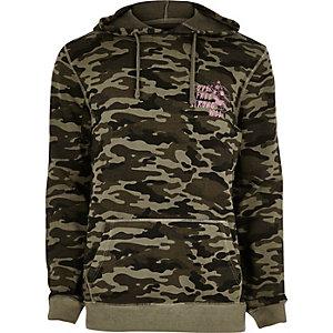 Kakigroene hoodie met camouflageprint