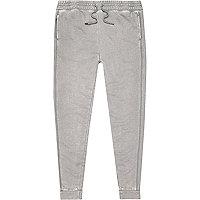 Pantalon de survêtement gris effet dévoré