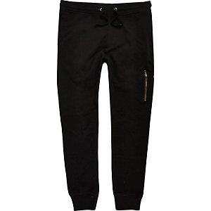 Black zip joggers