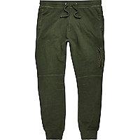 Khaki green zip joggers