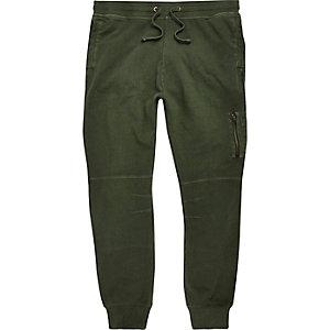 Pantalon de jogging vert kaki zippé