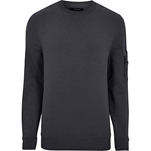 Graues Sweatshirt mit Reißverschluss am Ärmel