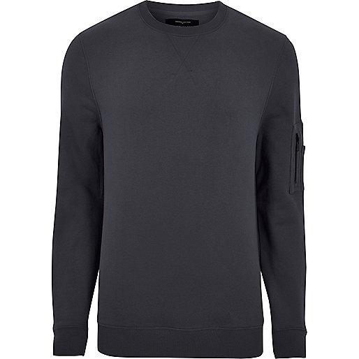 Grey zip sleeve sweatshirt