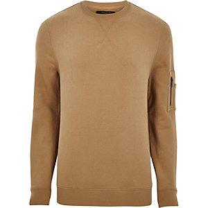 Braunes Sweatshirt mit Reißverschluss am Ärmel