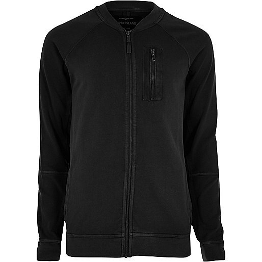 Black zip sweat bomber