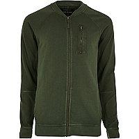 Khaki green zip sweat bomber