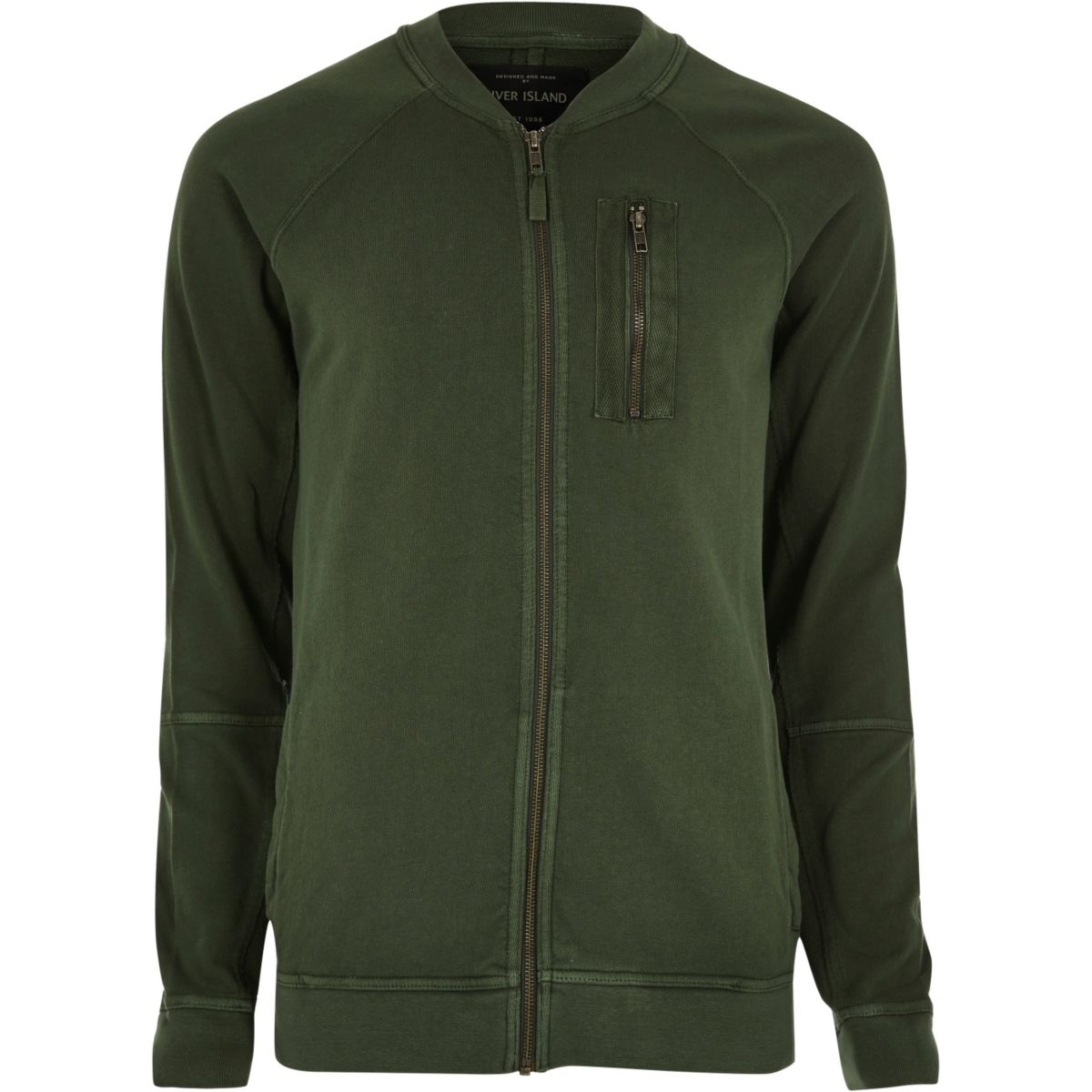 Khaki green zip sweat bomber