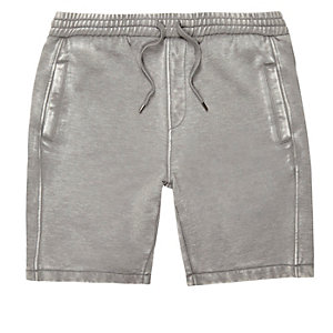 Graue, legere Burnout-Shorts