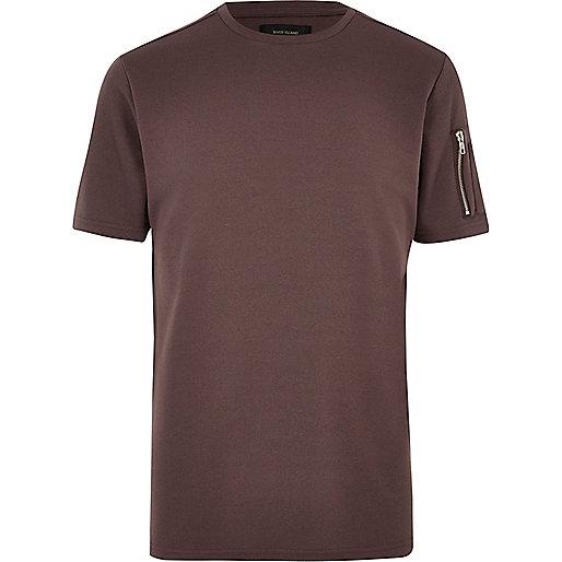 Pink zip sleeve T-shirt