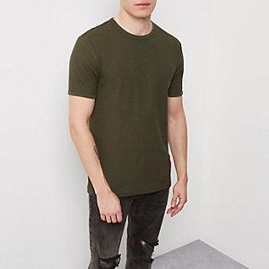 Kaki T-shirt met wafeldessin